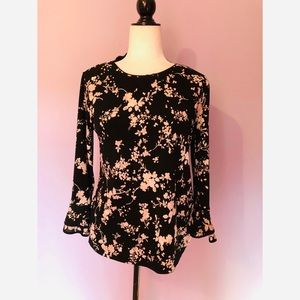 Karl Lagerfeld floral print ruffle sleeve blouse